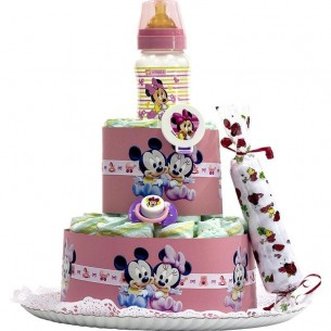 Tarta de Pañales Disney Rosa  Tartas de Pañales - La Cesta Mágica