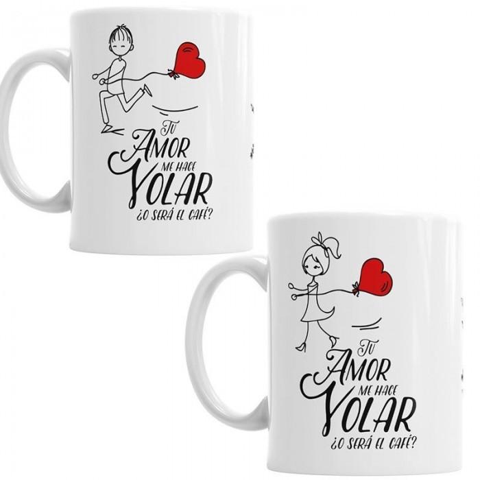 Tazas Tu Amor me hace Volar - Pack chico-chica  Tazas Originales - La Cesta Mágica