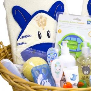 Canastilla al Agua Patos Gemelos - Azul  Canastillas para bebes - La Cesta Mágica