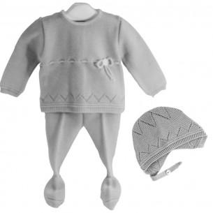 Conjunto para bebé de 3 piezas Gris Perla Cha-O