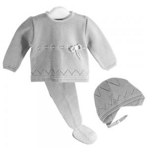 Conjunto para bebé de 3 piezas Gris Perla Cha-O  Ropa Bebé - La Cesta Mágica
