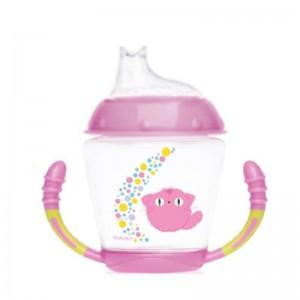 Taza Aprendizaje Step 1 Kiokids Rosa  Accesorios bebé - La Cesta Mágica