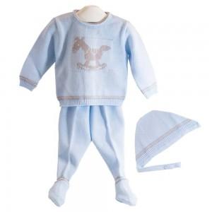 Canastilla para bebé Caballito Deluxe Celeste  Canastillas para bebes - La Cesta Mágica