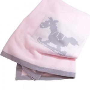 Canastilla para bebé Caballito Deluxe Rosa  Canastillas para bebes - La Cesta Mágica