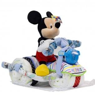 Tarta de Pañales Triciclo Mickey Disney  Tartas de Pañales - La Cesta Mágica