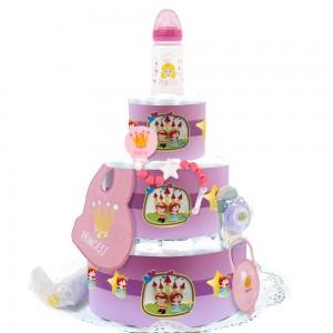 Tarta de Pañales Princesa Deluxe  Tartas de Pañales - La Cesta Mágica