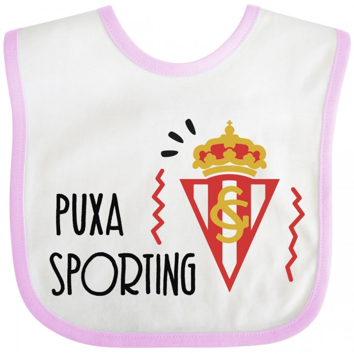 Babero Puxa Sporting de Gijón para bebé-rosa  Alimentacion y Lactancia - La Cesta Mágica