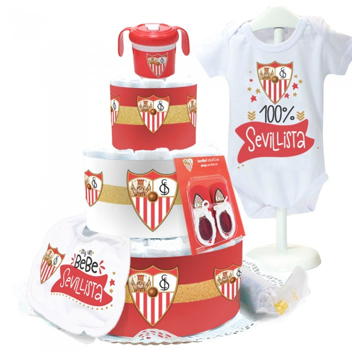 Tarta de Pañales Sevilla FC  Tartas de Pañales - La Cesta Mágica
