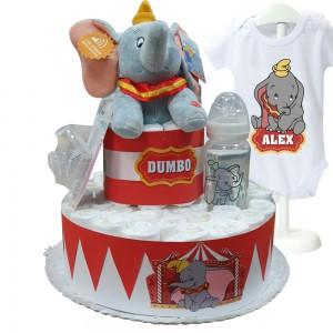 Tarta Dumbo Circus  Tartas de Pañales - La Cesta Mágica