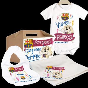 Caja Regalo Bebe FC Barcelona  Canastillas para bebes - La Cesta Mágica