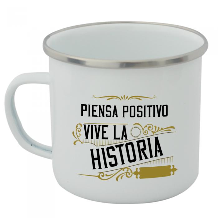 Taza Vintage Piensa Positivo  Tazas Vintage - La Cesta Mágica